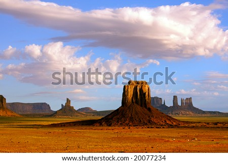 View from Artist's Point and East Mitten Butte at Monument Valley Navajo Tribal Park. - stock photo