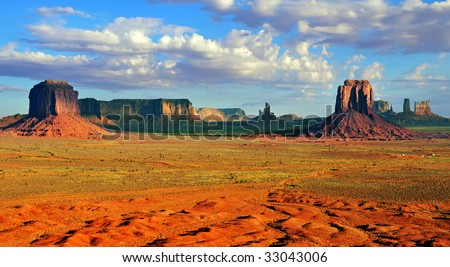 View from Artist's Point in Monument Valley with Merrick Butte and East Mitten Butte in the foreground.