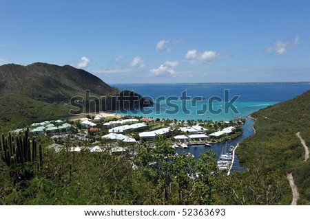view from atop Marcel Cove, St Martin French side, West Indies - stock photo