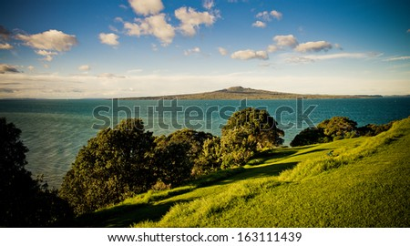 View from Auckland's North Head to Rangitoto Island - stock photo