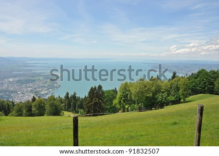 View from Austrian mountain top to Lake Constance