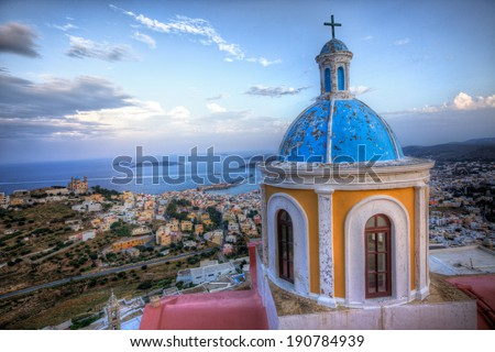 View from Basilica San Giorgio - Ano Syros, Greece - stock photo