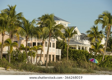 View from beach on summer house in Fort Myers Beach, Florida.