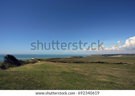View from Beachy Head over the Seven Sisters Cliffs to Cuckmere Haven