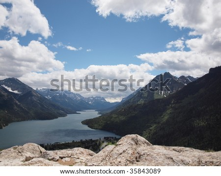 View from Bear Hump trail in Wateron Canada - stock photo