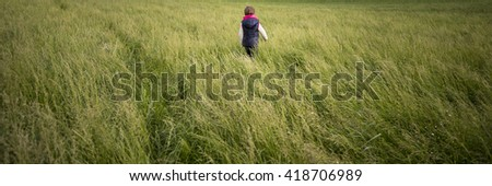 View from behind of a toddler child walking through a meadow of high green grass on a windy day.