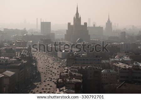 View from Beijing hotel to Residential house on Kudrinskaya Square (Stalin skyscraper) at morning in Moscow