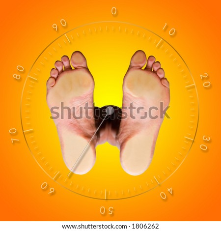 View from below of a weight control balance scale - stock photo