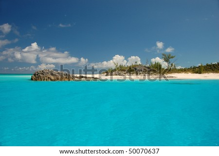 View from boat by Bahamas - stock photo