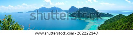 view from bohey dulang panoramic landscape - stock photo