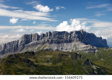 View from Brevent on smaller mountains in the french Alps. - stock photo