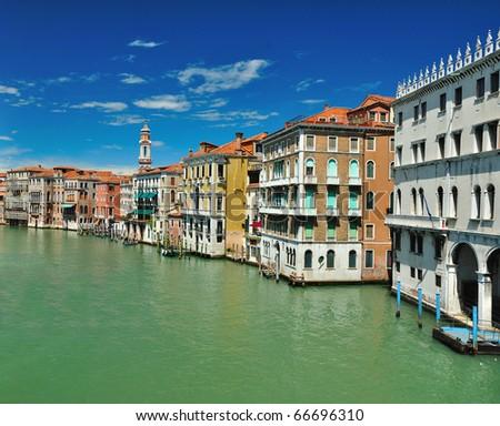 View from Bridge Ponte di Rialto on Grand Canal in Venice - stock photo