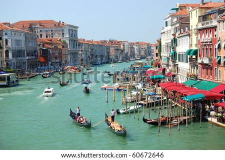 View from Bridge Rialto in Venice, Italy - stock photo