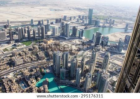 view from Burj khalifa tower, Dubai, United Arab Emirates - stock photo