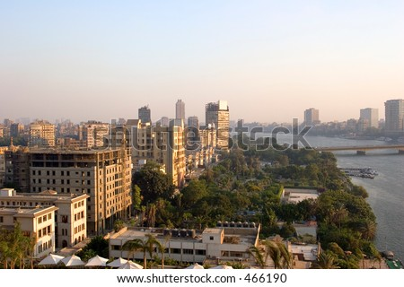 View from Cairo, by the Nile. - stock photo