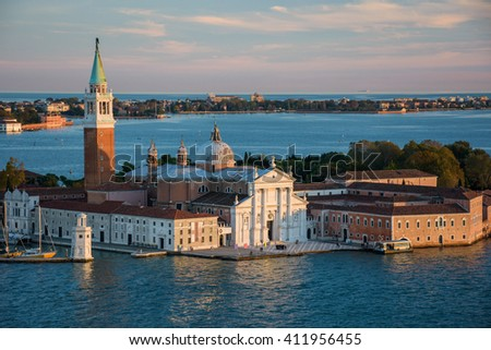View from Campanile di San Marco during sunset over Venice, Italy