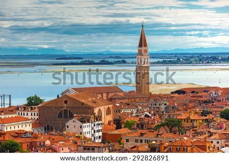 View from Campanile di San Marco to Roman Catholic church San Francesco della Vigna at summer morning in the Sestiere of Castello in Venice, Italy - stock photo