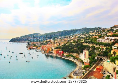 View from Cap Ferrat village in France - stock photo