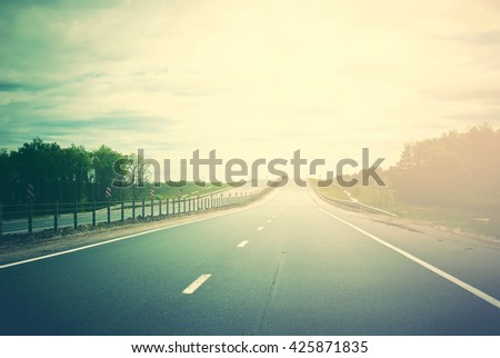 View from Car Road Landscape Travel Scenic Long Route Adventures Concept Non Urban Background Toned - stock photo