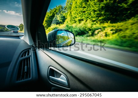 View From Car Window. Freedom And Travel Concept.