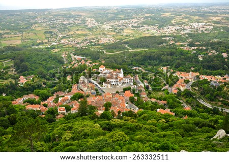 View from Castle of the Moors, Sintra - stock photo