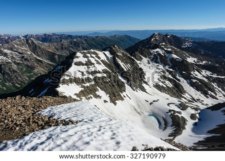 View from Castle Peak Near Aspen, Colorado Rocky Mountains - stock photo
