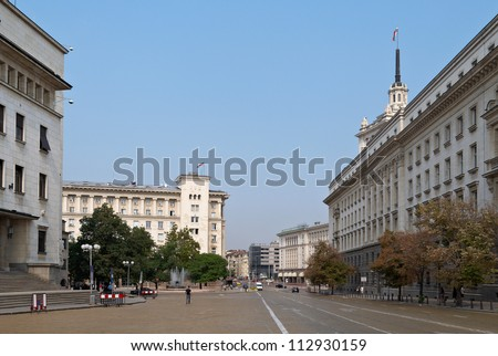 View from centre of Sofia city, capital of Bulgaria - stock photo