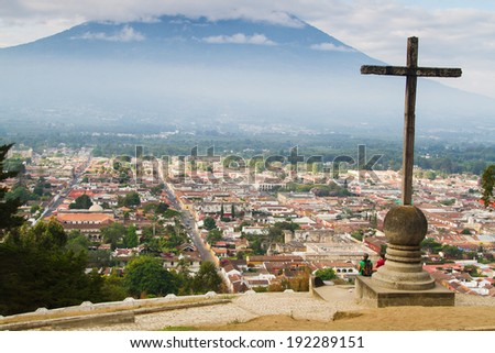 View from Cerro de la Cruz in Antigua, Guatemala, Central America. Antigua is former capital which was moved to Guatemala City after earthquake. - stock photo