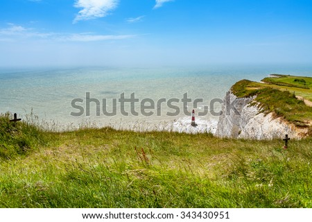 View from chalk cliff at Beachy Head near Eastbourne. East Sussex. England - stock photo