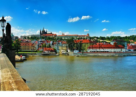 View from Charles Bridge in Prague, Czech Republic - stock photo