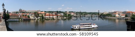 View from Charles Bridge - Prague -panorama - stock photo