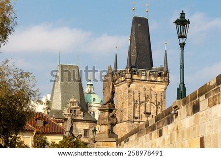 View from Charles Bridge to the old town in Prague.