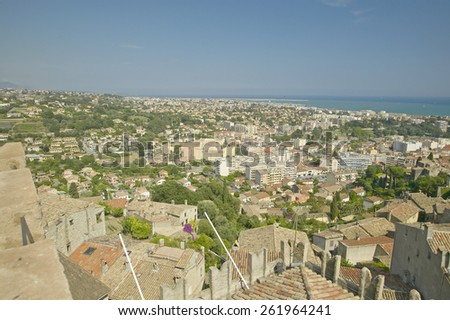 View from Chateau Grimaldi of Haut de Cagnes, France - stock photo