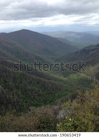 View from Chimney Tops in Great Smoky Mountains National Park - stock photo