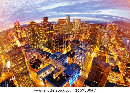 View from city tower in Vancouver - stock photo