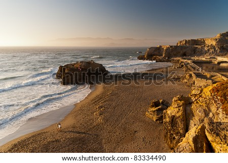 View from Cliff House in San Francisco in the evening - stock photo