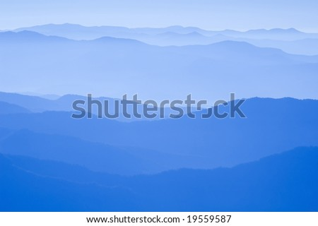 View from Clingman's Dome, Great Smoky Mountains National Park, Border of North Carolina and Tennessee - stock photo