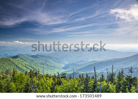 View from Clingman's Dome in the Great Smoky Mountains National Park near Gatlinburg, Tennessee. - stock photo