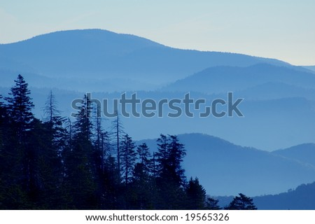 View From Clingmans Dome, Great Smoky Mountains National Park, Tennessee - stock photo
