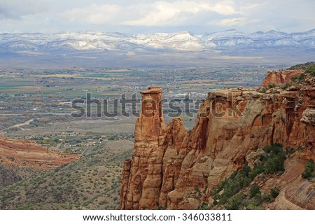 View from Colorado National Monument on Grand Junction Valley, Colorado - stock photo