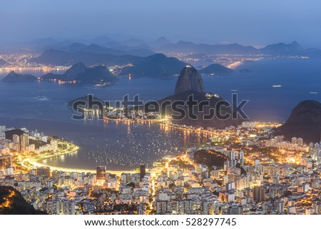 View from Corcovado Mountain during sunset in Tijuca Forest National Park, Rio de Janeiro, Brazil