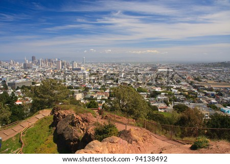 View from Corona Heights Park in San Francisco - stock photo