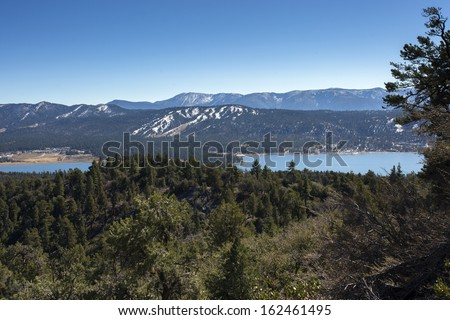 View From Cougar Crest of Big Bear Lake and Snow Summit Ski Resort with Early Snow - stock photo