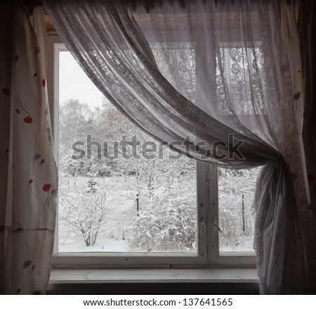 View from  country house window in winter. Moscow region. Russia. - stock photo