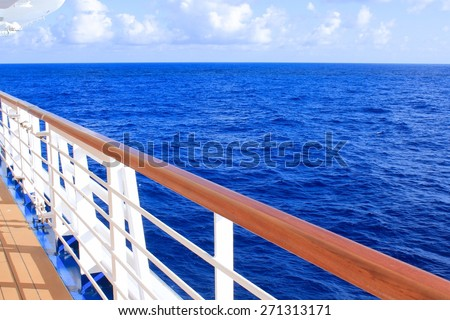 View from cruise ship deck on ocean - stock photo