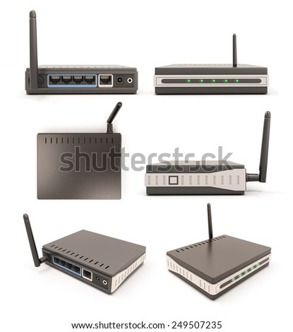 View from different angles wireless router isolated on white background. 3d illustration. - stock photo