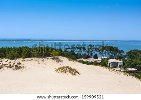 View from Dune of Pilat - the largest sand dune in Europe, Aquitaine, France - stock photo