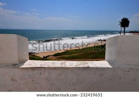 View from Elmina Castle (also called the Castle of St. George). Located on the Atlantic coast of Ghana west of the capital, Accra. It is a UNESCO World Heritage Site. - stock photo