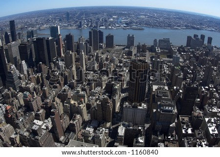 View from Empire state building - stock photo