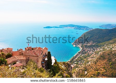 View from Eze in France to Nice and other villages - stock photo
